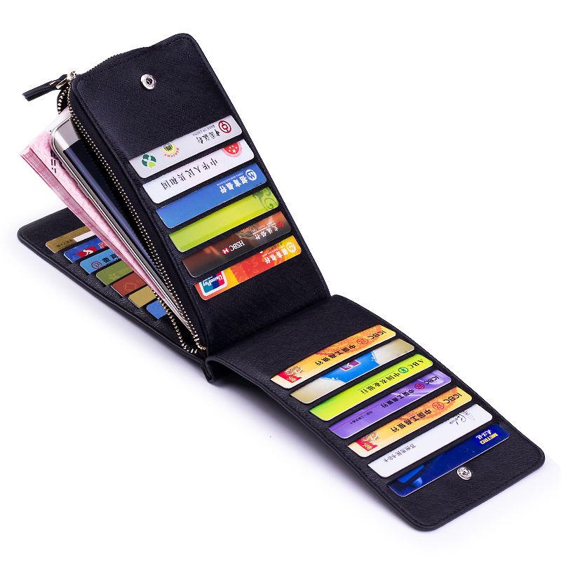 女士卡包男式多卡位银行卡套商务大容量证件夹长款拉链钱包手机包