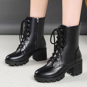 秋冬女鞋粗跟马丁靴女2019新款靴子冬鞋子瘦瘦靴短靴加绒高跟皮鞋