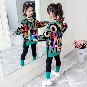 女童秋装套装儿童洋气卫衣两件套2019新款韩版中大童春秋时髦童装