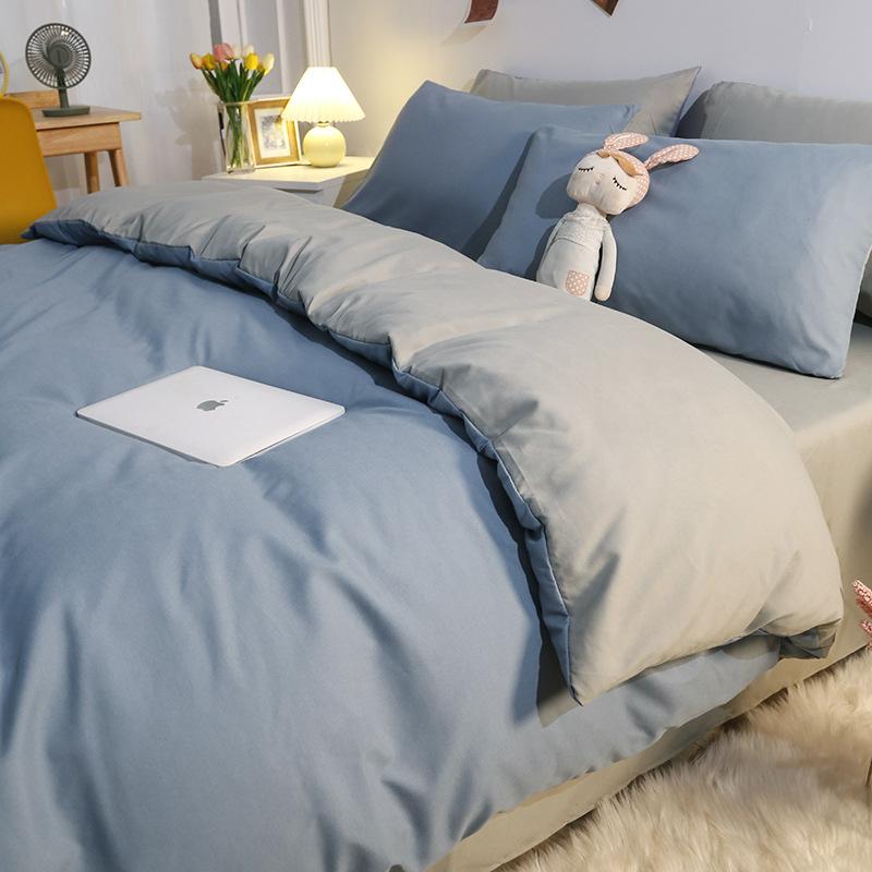 四件套春秋纯色水洗棉被套床单三件套床上用品学生宿舍单双人被罩