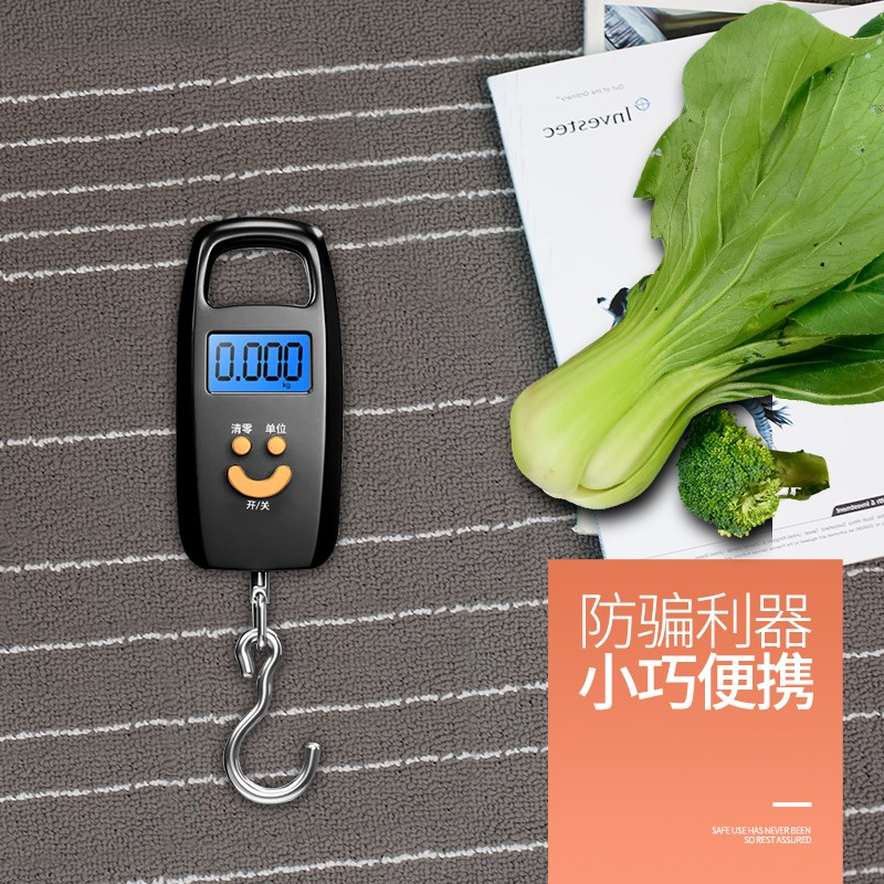Portable luggage electronic scale spring scale household mini scale small kitchen food type portable hook type express delivery