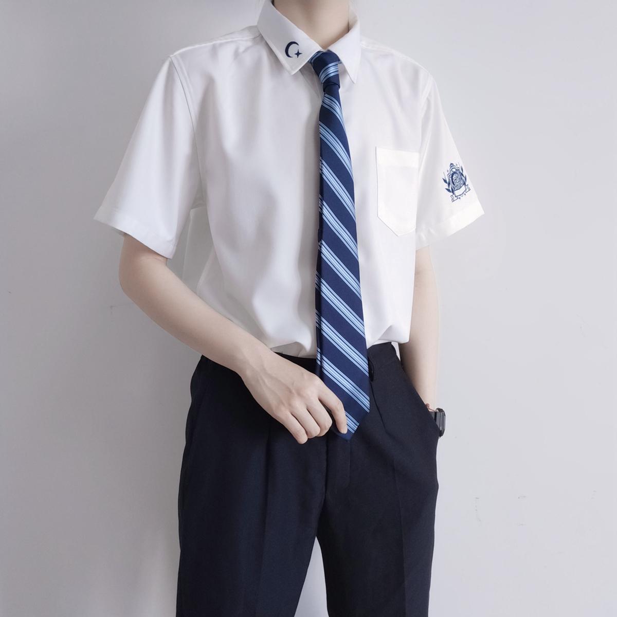 【刺篇原创】破星 原创日系jk/dk制服短袖深蓝色刺绣衬衫男女款