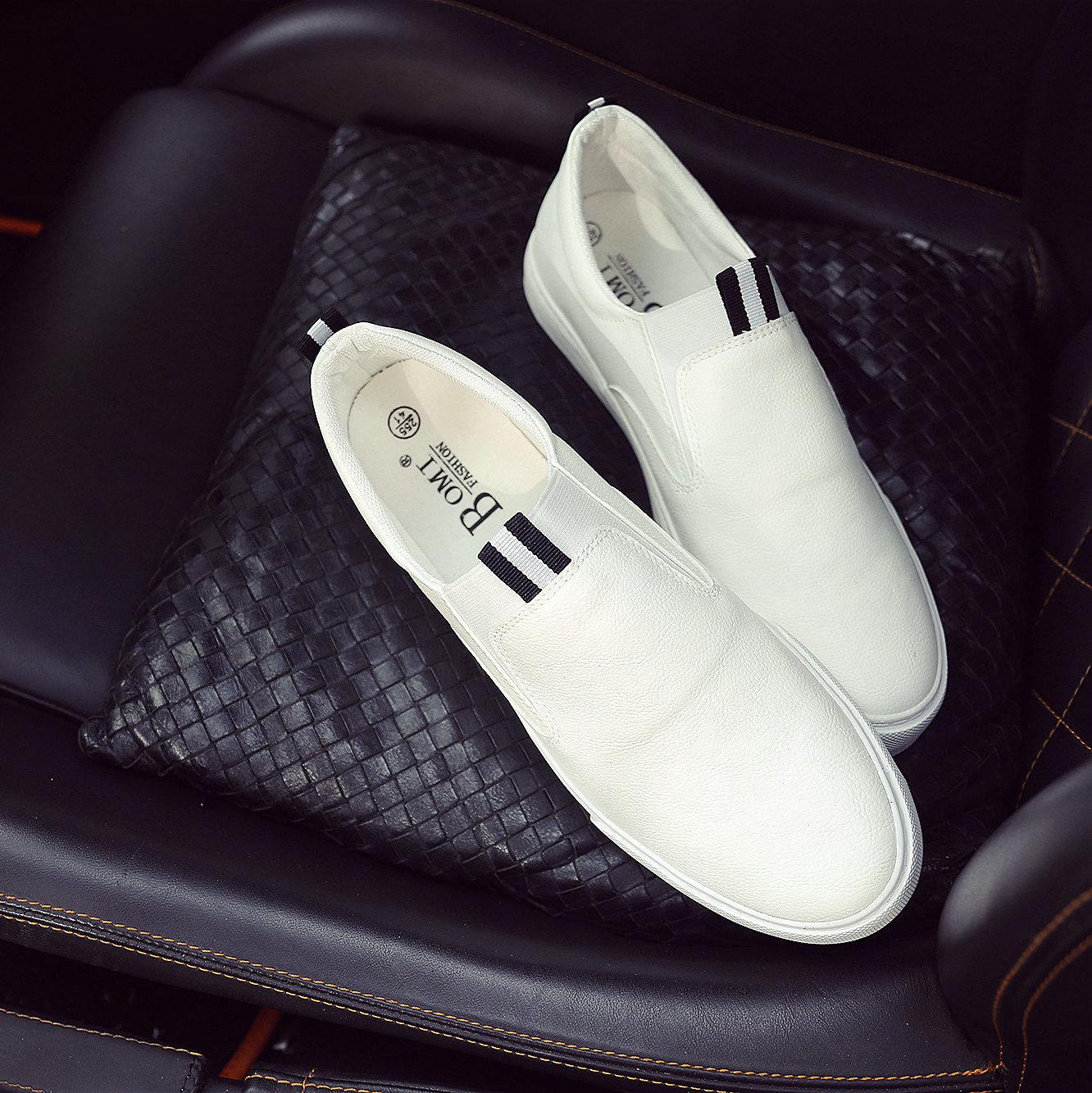 男士pu皮帆布鞋青年白色皮鞋男鞋(用2元券)