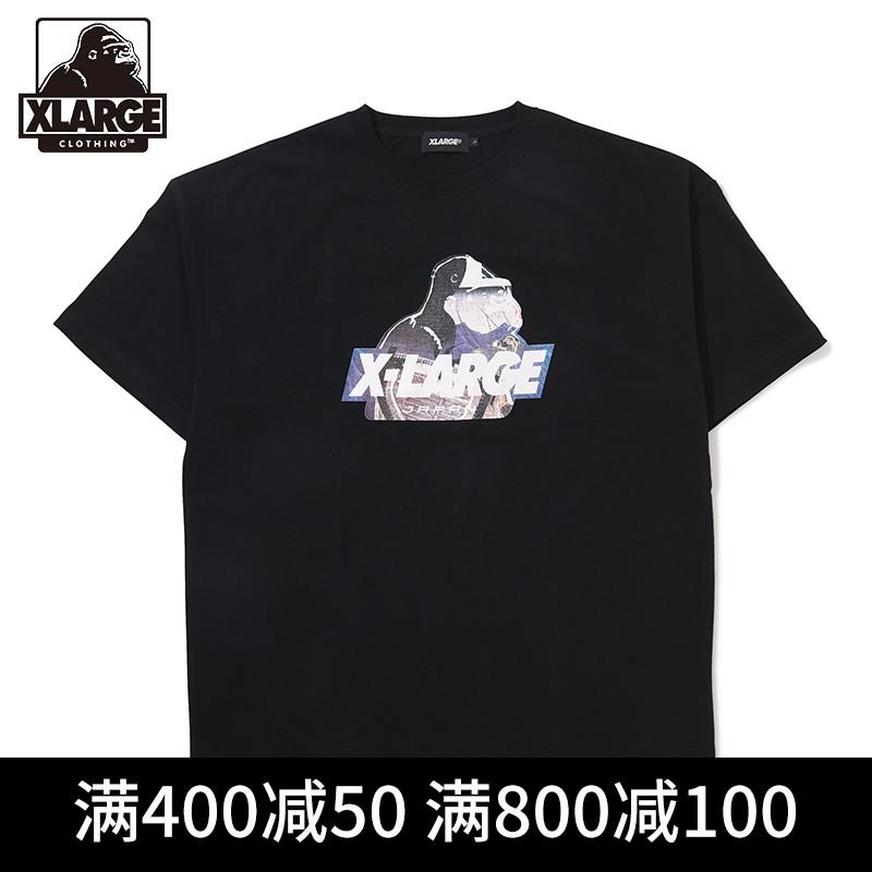 XLARGE半袖T恤大猩猩logo印花夏裝棉質T恤潮 寬松圓領男士短袖T恤