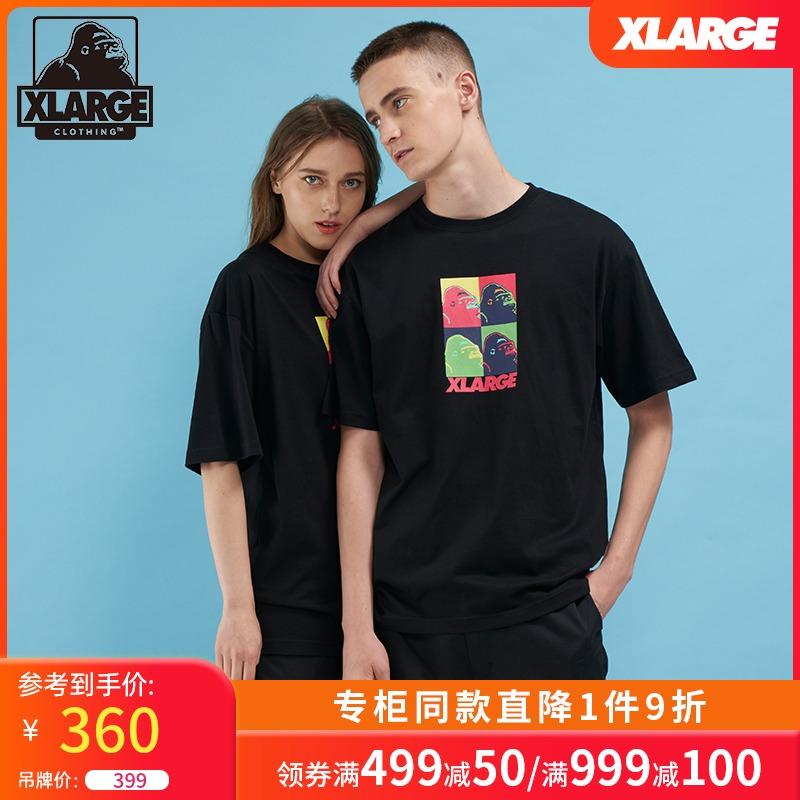 XLARGE潮流男装 撞色猩猩logo印花简约圆领男女同款情侣装短袖T恤