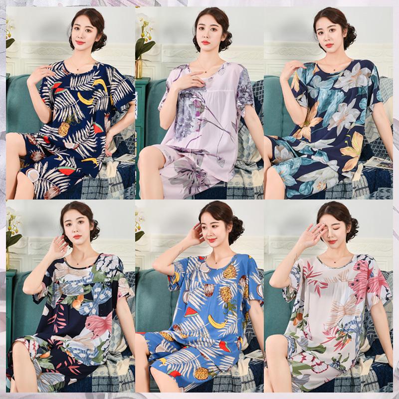 中老年绵绸家居服中年妈妈棉绸睡衣女夏季薄款短袖人造棉两件套装