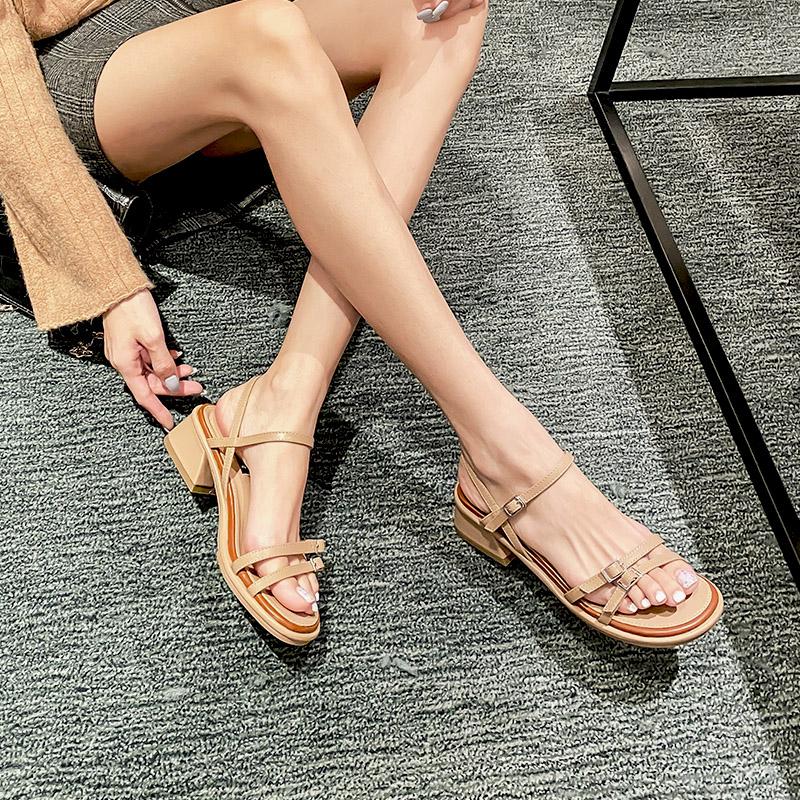 羅馬涼鞋女時裝涼鞋2020年新款網紅細帶厚底粗跟中跟一字扣潮學生