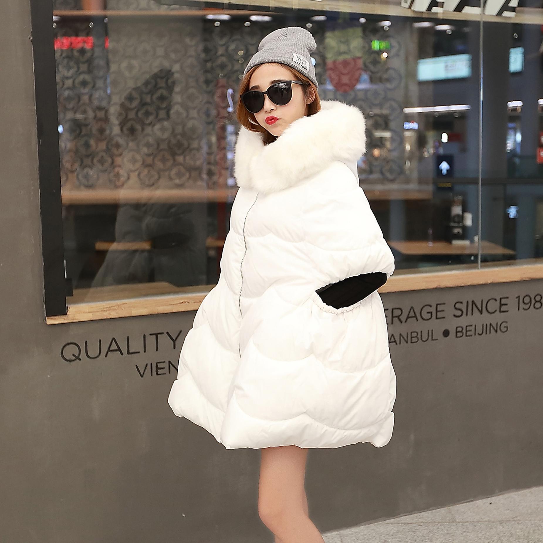 冬装宽松棉衣女装新款斗蓬外套大毛领棉服欧美大码棉袄胖mm200斤