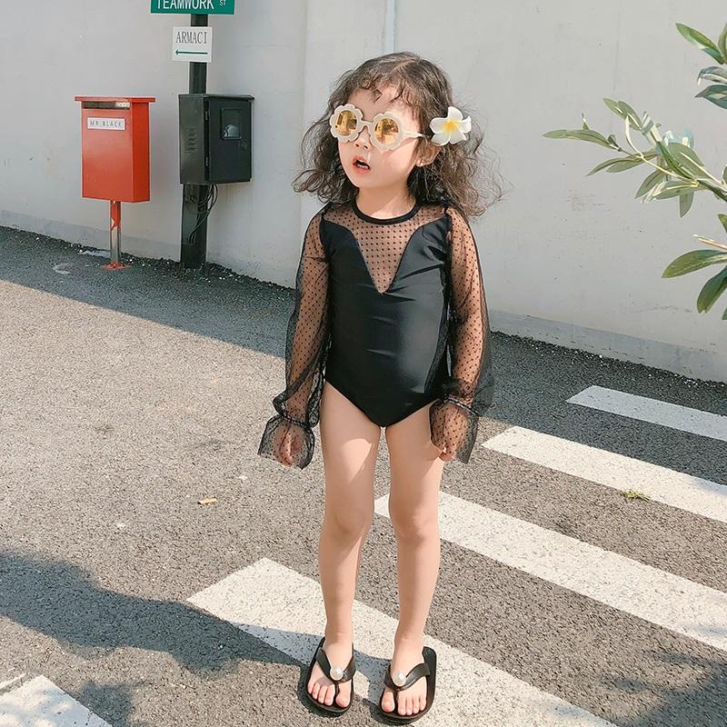 儿童泳衣韩国新款可爱中小女孩女童宝宝长袖防晒连体三角公主泳装49.00元包邮