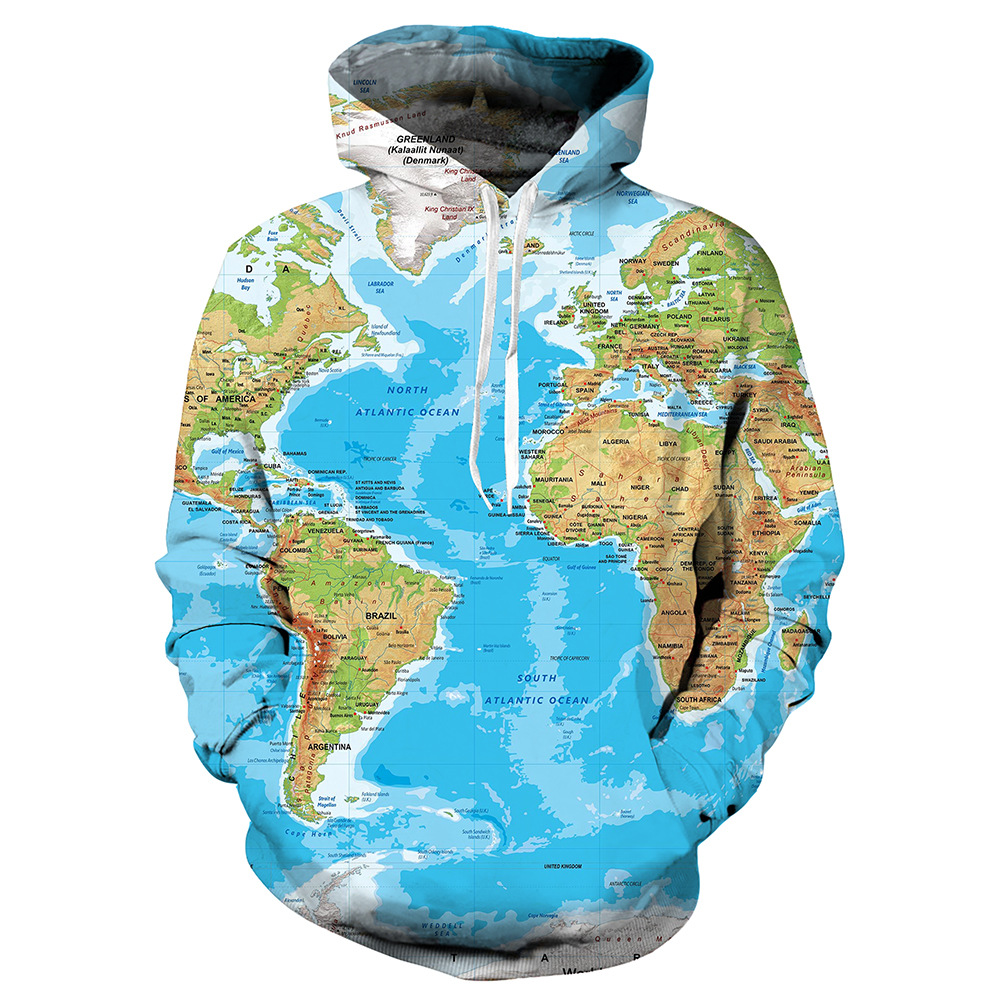 World map geographic pattern sweater clothing custom Cosplay custom Hoodie 3D printed outerwear top