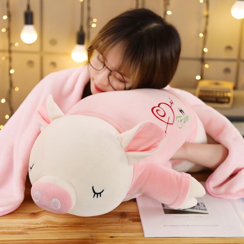 猪猪午睡枕头抱枕被子两用三合一办公室午休空调毯子珊瑚绒靠枕热销14件限时2件3折