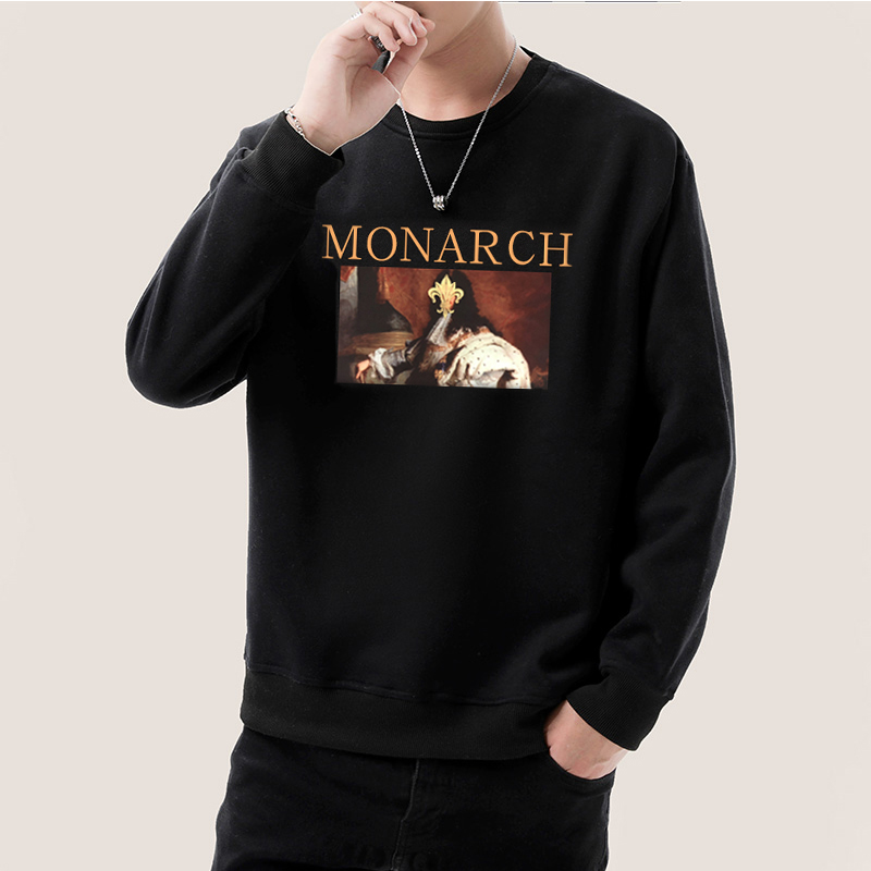Long sleeve t-shirt mens round neck sweater mens autumn winter top pure cotton casual large loose Menswear