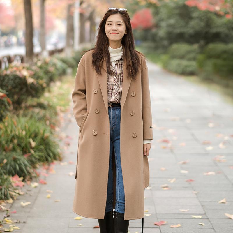 万丽(服饰)2021双面呢羊绒大衣女长款羊毛大衣外套毛呢女大衣