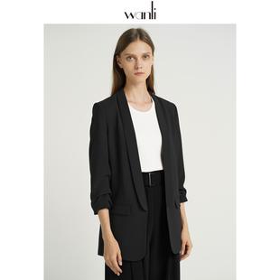万丽(服饰)西装外套女2019秋新款韩版宽松通勤气质黑色小西装价格