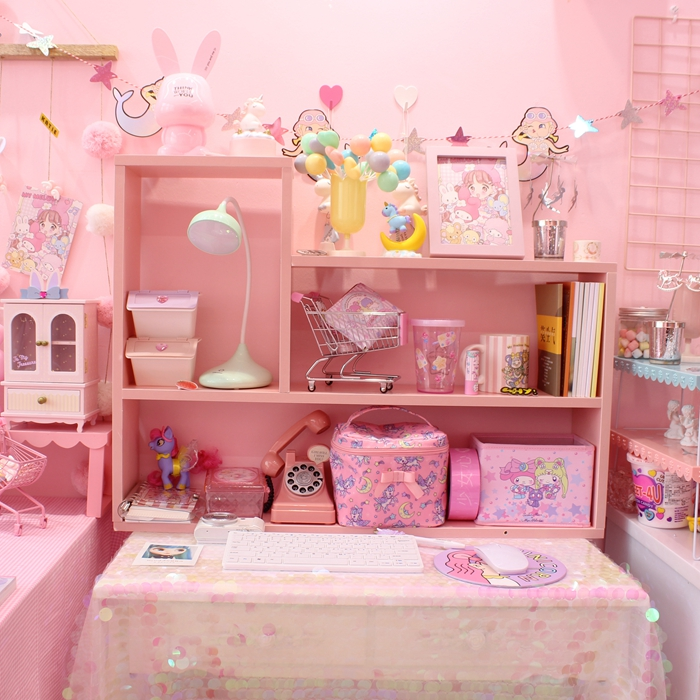 78.00元包邮粉色挂壁式置物架墙上置物架少女心墙壁置物架软妹卧室装饰书架桌