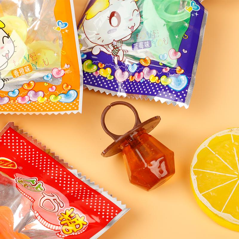 钻石糖怀旧糖果零食8090后怀旧零食水晶戒指儿童创意水果多口味糖