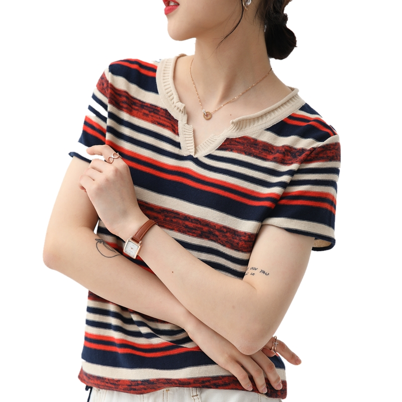 Chan Lai AI summer new cotton t-shirt female V-neck Korean striped short sleeve loose base thin knitwear top