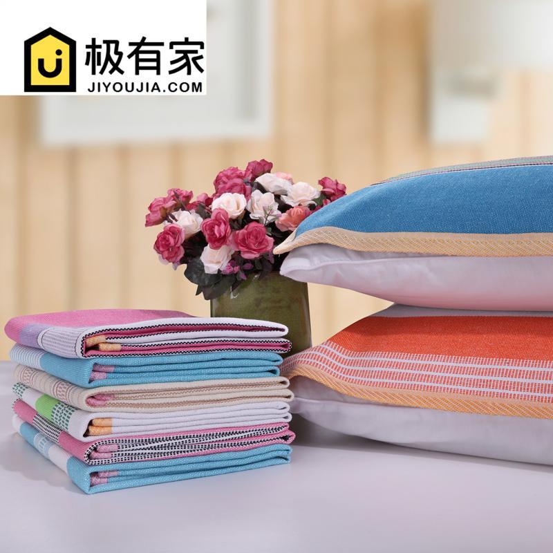 老粗布枕巾纯棉一对装 加厚大号成人学生防螨抗菌枕巾 防滑不脱落