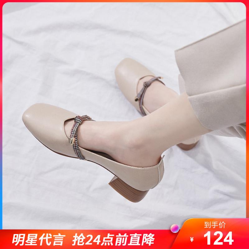 复古赫本玛丽珍中跟粗跟单鞋女鞋仙女风温柔奶奶鞋2020新款小皮鞋