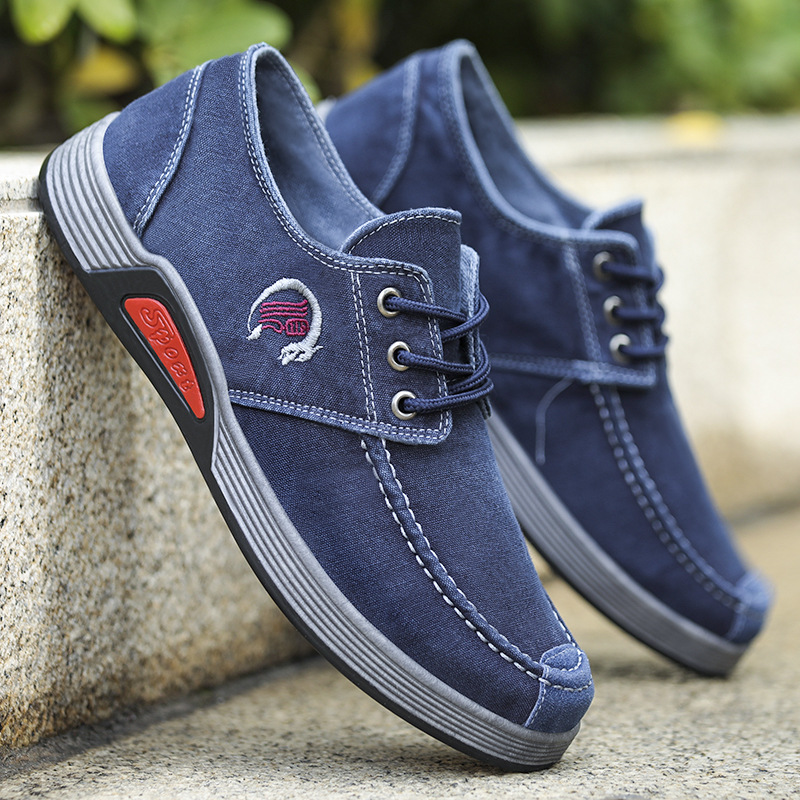 Cloth shoes new mens wear leisure youth student mens version leisurely lace up canvas shoes breathable light shoes Korean style
