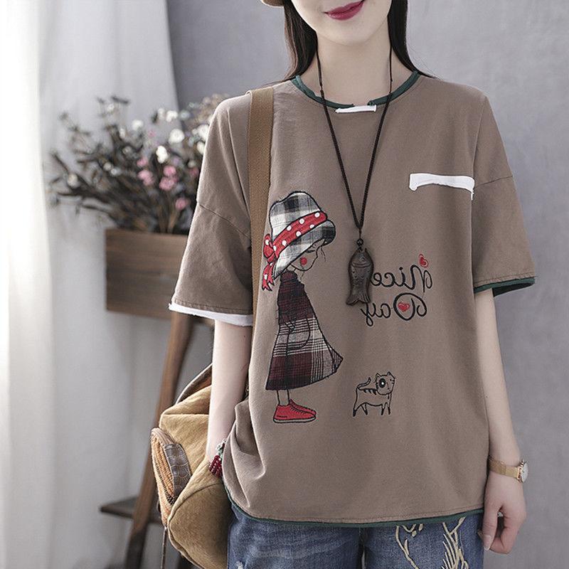 晶女装匞纯棉重工200斤可穿大码宽松名族风T恤依姿美服装