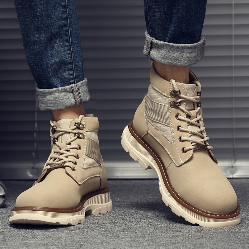 Mens Martin boots fall 2020 new mid top boots casual work wear boots high top desert military boots fashion leather boots