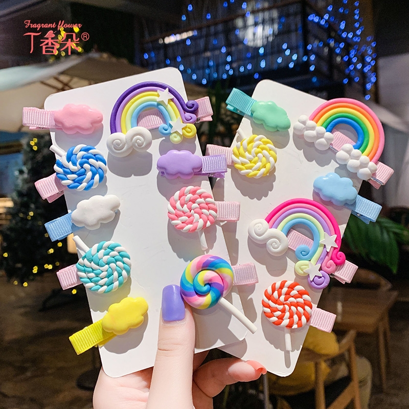 韩国儿童发夹侧边网红少女彩色发卡可爱公主糖果色云朵小宝宝发饰
