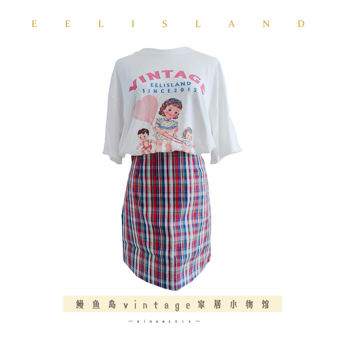 原创vintage古董娃娃OVERSIZE宽松印花白色短袖半袖T恤上衣