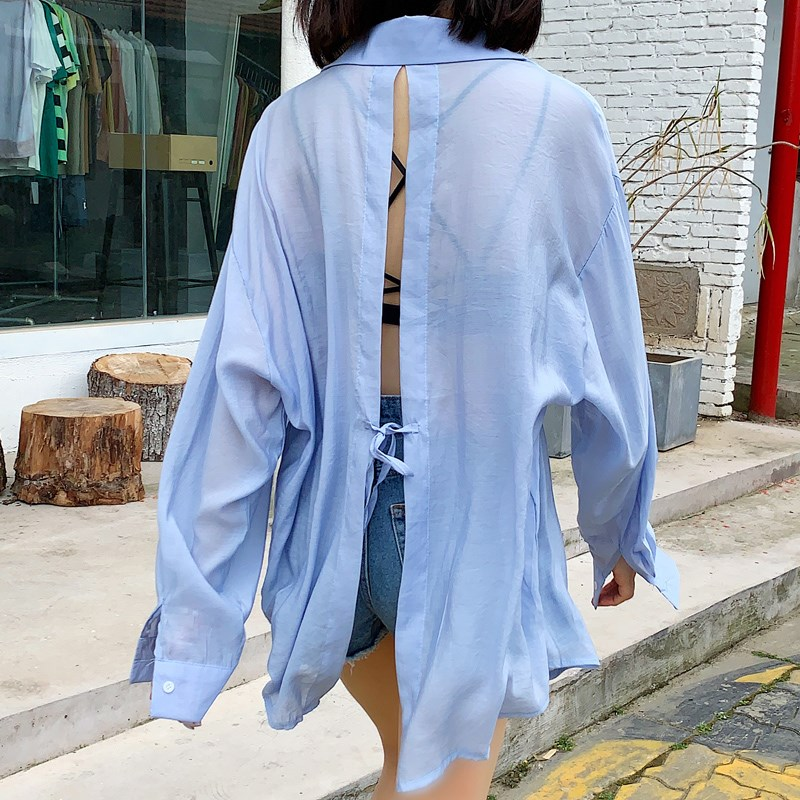 Mid length lazy style sunscreen Summer Dew back womens Korean loose long sleeve thin split lace up shirt