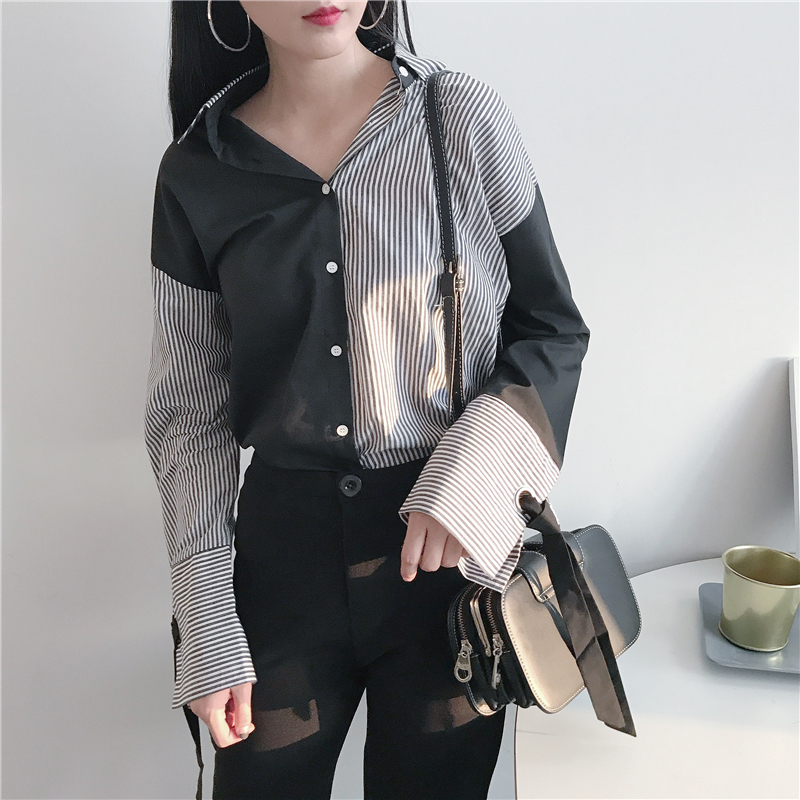 Womens new Hong Kong style retro chic versatile striped shirt womens loose stitching Top Long Sleeve Shirt ins fashion