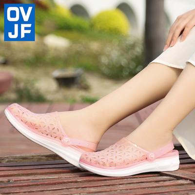 夏季洞洞鞋女防滑厚底沙滩鞋镂空包头洞洞果冻凉鞋海边外穿凉拖鞋