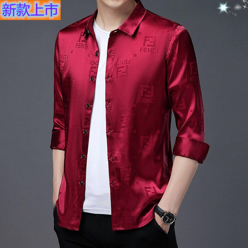 High grade genuine middle-aged silk long sleeve shirt for men