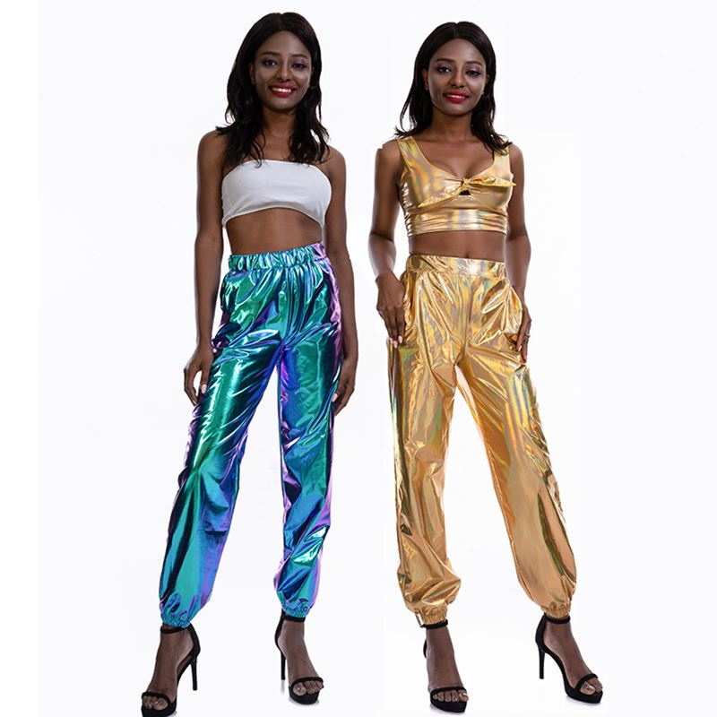 2019 autumn new ladies casual sports shiny magic trousers