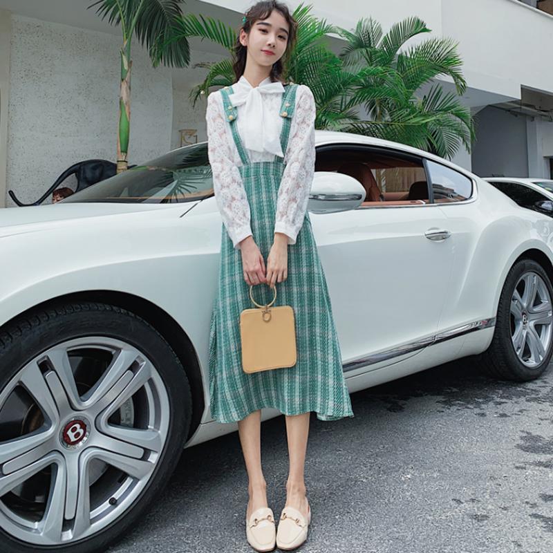 秋装2019年新款秋款裙子法式复古长袖连衣裙两件套秋季套装女洋气