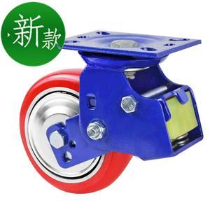 弹簧减震f脚轮万向轮超重型4寸5寸6寸8寸避震轮抗冲击聚氨脂刹车