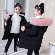女童洋气冬装棉衣2019新款儿童加厚羽绒棉服小女孩中长款外套大童