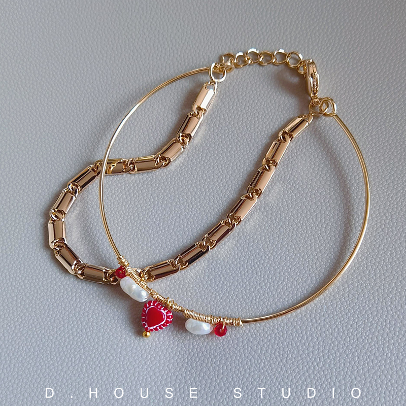 [original by D. jewelry] gold plated, European and American style, retro and exquisite, with pearl bracelet and bracelet love