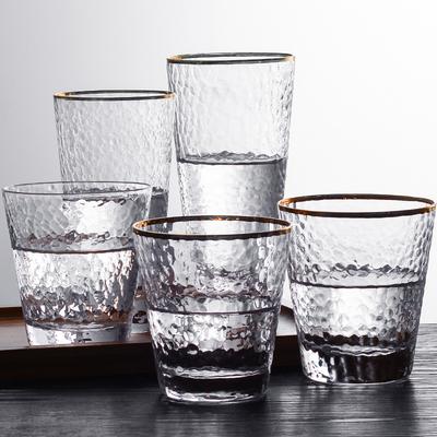 日式金边玻璃杯子ins风透明耐热锤纹水杯套装家用果汁奶茶杯定制