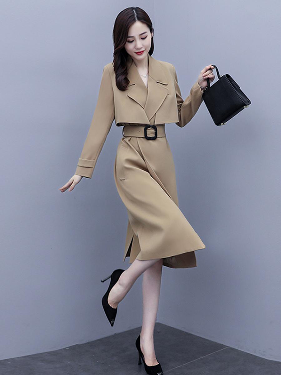 媞芬两件套连衣裙春季2021年新款中长款春秋显瘦收腰气质流行外套