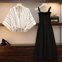 适合胖人胖胖女孩的裙子2020年春减龄洋气桔梗连衣裙套装裙夏吊带