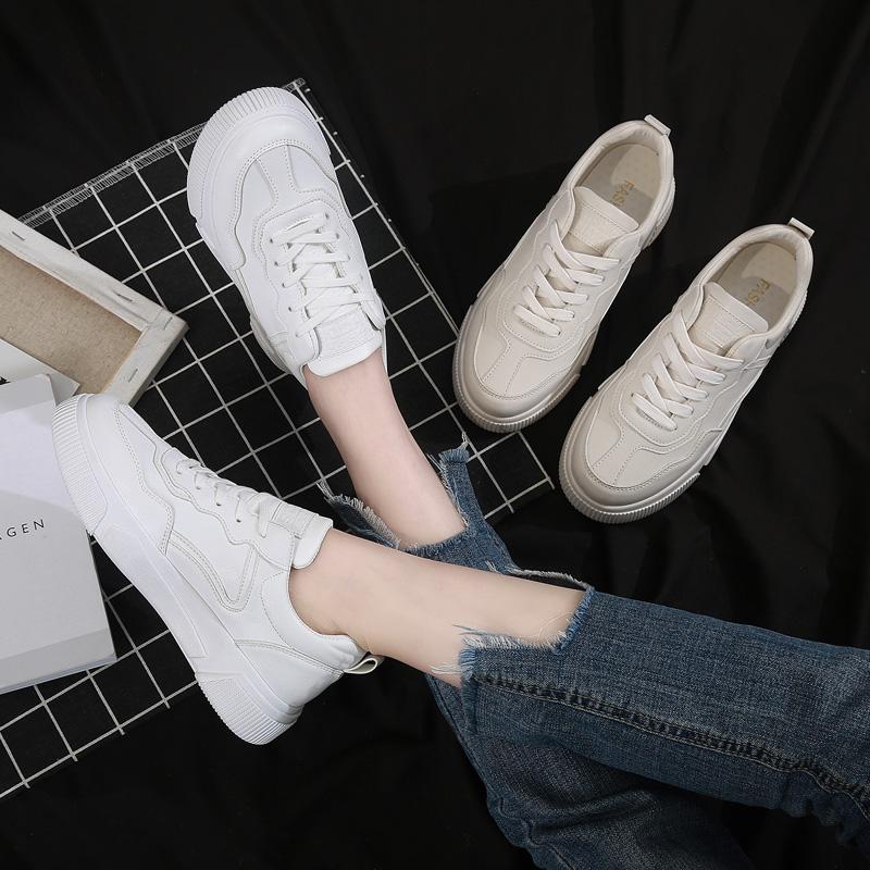 兰茵朵2019韩版小白鞋女百搭基础学生厚底白鞋街拍透气休闲板鞋