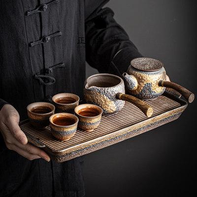 正佳源粗陶鎏金侧把壶功夫茶具套装家用办公简约陶瓷茶具茶盘套组