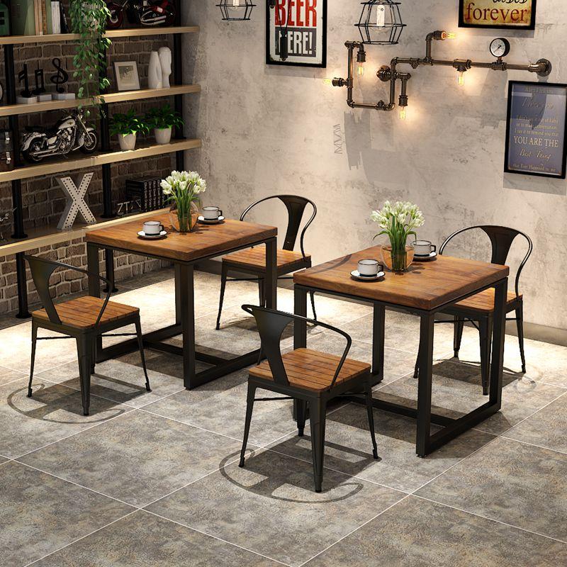 工业风主题餐厅餐桌椅组合面馆正方形loft网红餐吧铁艺实木小方桌