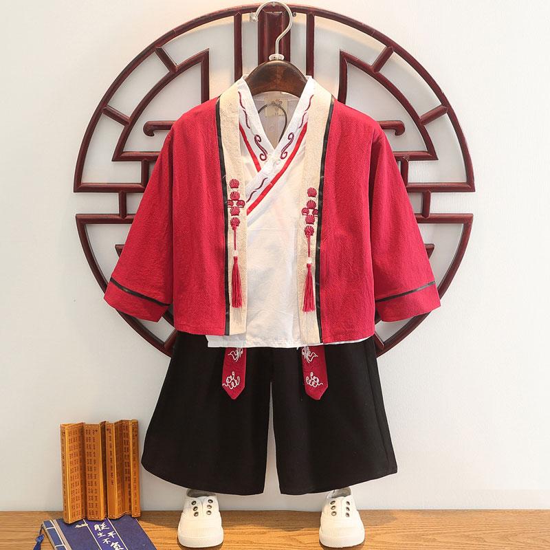 儿童古装汉服套装超仙长袖男童唐装中国风三件套宝宝周岁礼服古风