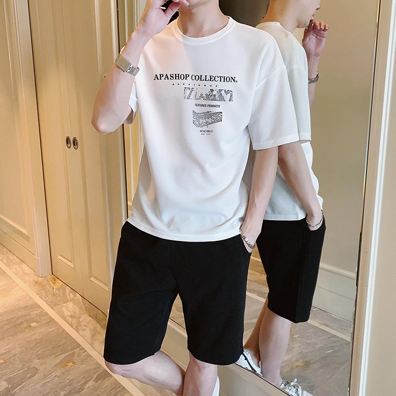 夏季短袖t恤男士套装潮流一套搭配男装韩版上衣服潮牌帅气五分袖