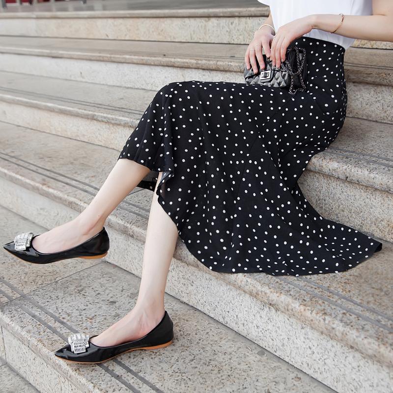 雪纺半身裙夏2018新款气质韩版港味波点百搭显瘦包臀裙鱼尾长裙春