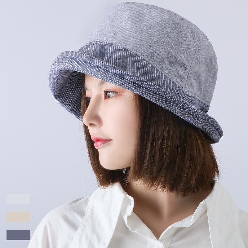 日本帽子女遮阳帽 防晒防紫外线UV CUT卷边渔夫帽 日系撞色盆帽潮