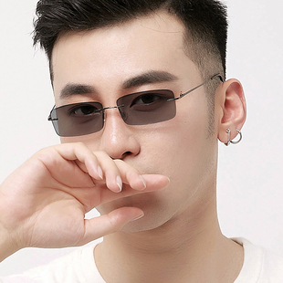 無框變色眼鏡男防藍光輻射電腦護目近視眼鏡框架輕商務平光鏡2228