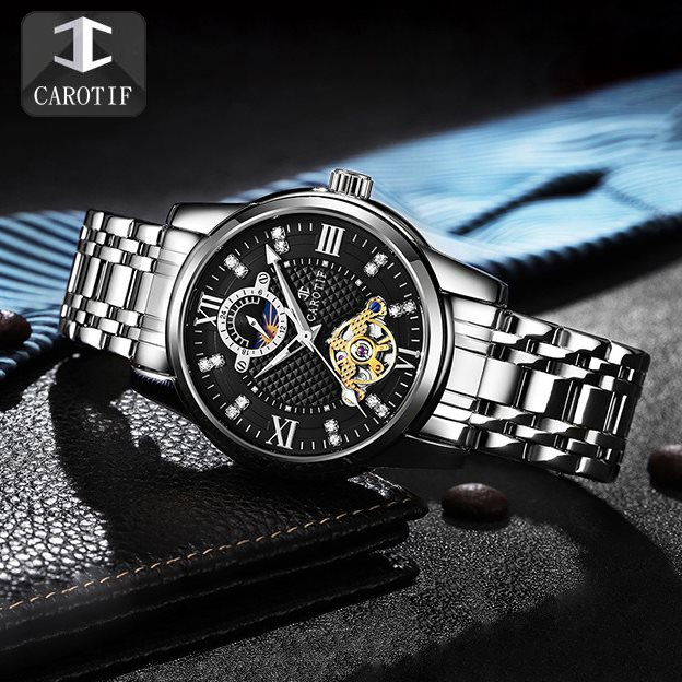 |Watch mens mechanical watch fully automatic hollow moon phase Tourbillon trend concept China