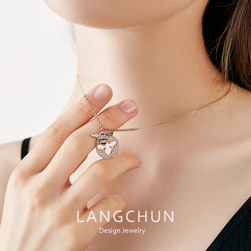 925纯银金色小蜜蜂项链女小众品牌设计感网红锁骨链气质简约轻奢